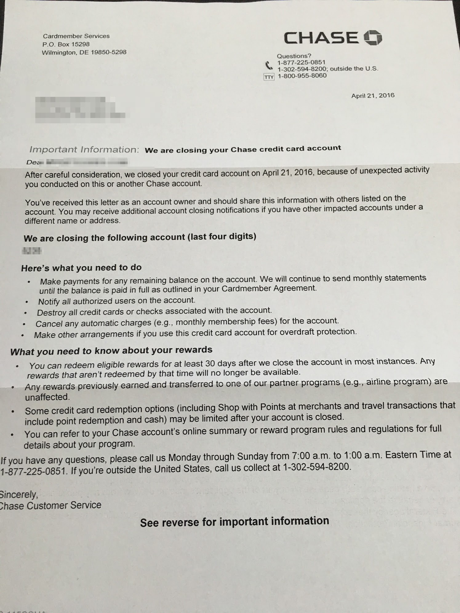 What A Chase Shutdown Letter Looks Like