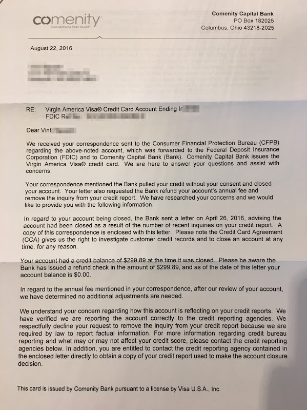 Comenity responds to my CFPB complaint Miles per Day